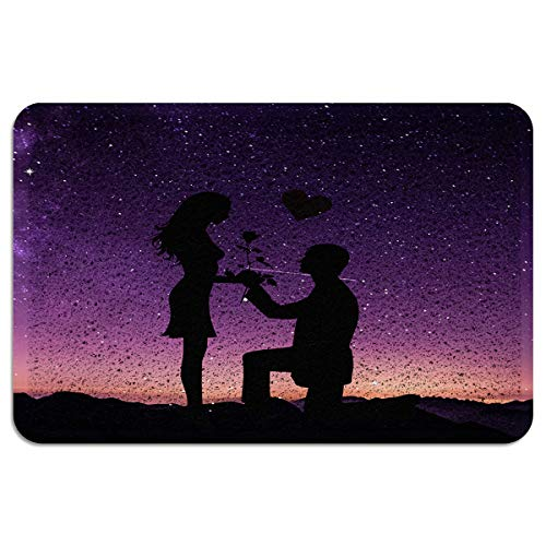 OneHoney Romantic Propose Marriage Lover Welcome Outdoor Door Mat, Indoor Entrance Non Slip Doormats, Outside Patio PVC Rug Pad, Heavy Duty Duraloop Mesh Dirt Mud Trapper 24x35inch