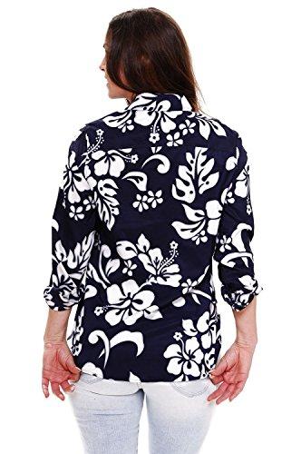 King Azul Grande De Bolsillo xs Original Mujeres Camisa Manga Impresión diferentes Florón Hawaii Larga Delantero Kameha Hawaiana Oscuro Funky Colores 6xl dxvnqHxZw