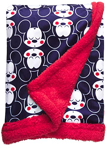Disney Mickey Mouse Mink & Sherpa Double Sided Infant Blanket, Mickey Heads Print]()