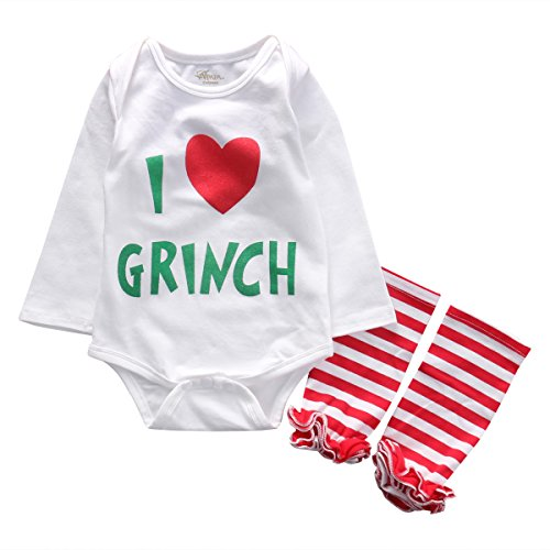 Grinch Outfits (Infant Baby Girls I Love Grinch Bodysuit Romper+Leg Warmer Christmas Outfits (0-3 Months, Red))