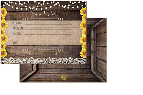 Country Lace & Sunflower Rustic Invitations All Occasion Fill in invites for Bridal Shower Wedding Rehearsal Dinner Birthday Party Baby Shower Anniversary Engagement Bachelorette (Best Occasions Wedding Invitations)