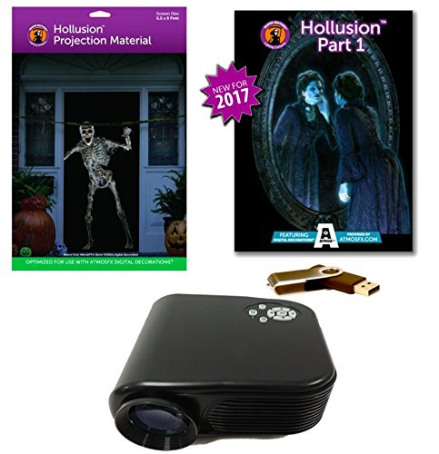 AtmosFearFX HOLLUSION PART 1 Compilation Video Projector Kit on USB with (L) Hollusion Projection Screen. Includes effects from Bone Chillers, Ghostly Apparitions, Macabre Manor and Phantasms -