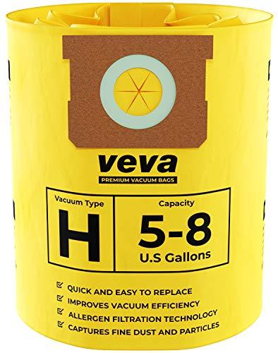 VEVA 20 Pack Premium Vacuum Filter Bags Type H 9067100 Work with Shop Vac 5-8 Gallon Vacuum, Part # SV 90671