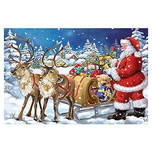 Cinhent Diamond Painting, 5D Rhinestone Pasted DIY Cross Stitch Arts Decoration, Craft Supply for Home/Study Room/Hotel Wall Decor, 30 ×40CM, Santa Claus Rides A Sleigh to Give Gifts