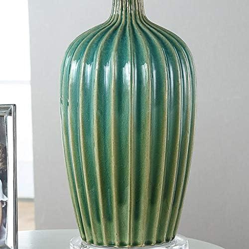 N/A BDDKA Ceramic Green Glaze, Handmade Leaf Pattern Cloth Shade Lamp for Living Room Bedroom