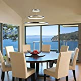 Diborui Modern Pendant Light, Adjustable LED Ceiling Fixture with 3 Ring, Round Shape Chandeliers for Bedroom, Living Room, Dining Room and Kitchen Island, Daylight (5000K), 65W, Chrome Review