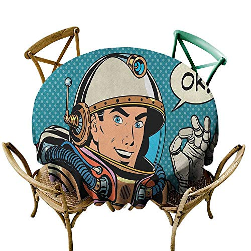 Wendell Joshua White Tablecloth 50 inch Astronaut,Middle Aged Sapce Man Gesturing and Saying OK Speech Bubble Space Themed Catroon, Multicolor Polyester Fabric Table Cloth