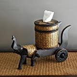 YOURNELO Thailand Elephant Cart Solid Wood Bamboo Weaving Tissue Paper Box Holder