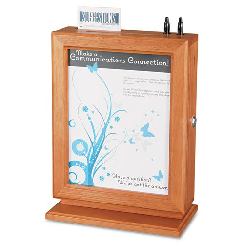 Safco Customizable Wood Suggestion Box 10-1/2 X 13 X 5-3/4 Cherry With Glass Panel Office