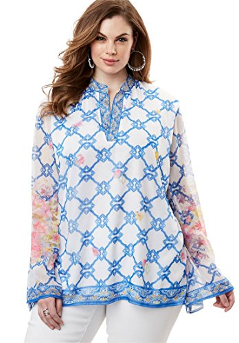 Roamans Women's Plus Size Beaded Scarf-Print Tunic Multi Print,32 W Beaded Print Tunic