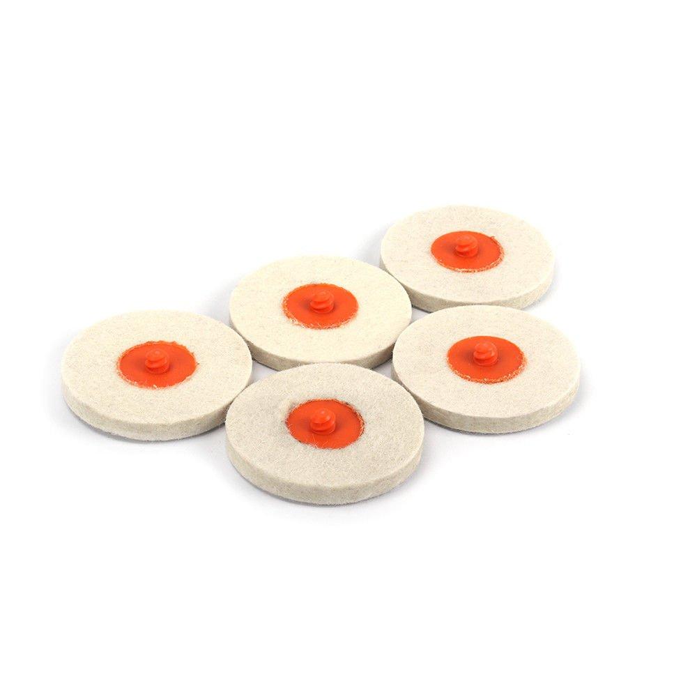 "5Pcs Roloc Style 3/"" Wool QC Disc Chrome Polishing Buffing Pads Wheels For Wood"