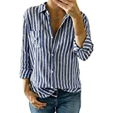 Women Casual V Neck Striped Cotton Blouses Long Sleeve Wrap Tops Shirts Blouse (L, Blue)