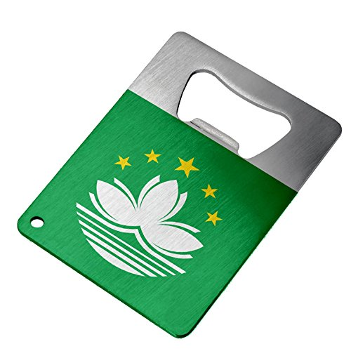 Bottle Opener - Stainless Steel - Fits in wallet - Flag of Macao (Macanese)