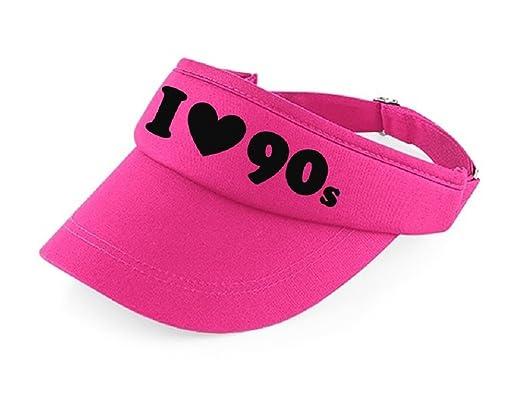62ca4eb1 I LOVE THE 90s Pink Visor: Amazon.co.uk: Clothing