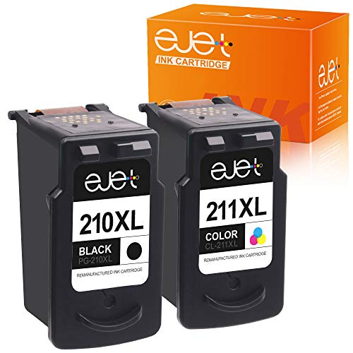 ejet Remanufactured Ink Cartridge Replacement for Canon PG-210XL CL-211XL 210 XL 211XL to use with PIXMA IP2702 MX410 MP495 MP230 MP240 MP280 MX340 MX350 MX360 Printer (Black, Tri-Color, 2-Pack)