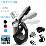 HZYBABY Full Face Snorkel Mask 3.0, 2018 New Foldable Snorkeling Mask Full Face with Anti-fog Anti-leak, 180¡ã Large View Easy Breath Dry Top Set for Adults Youth