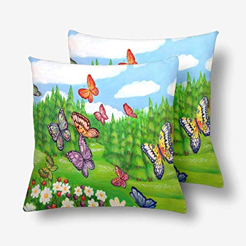 (Royalreal Sunny Summer Landscape Meadow Daisy Flower Forest Sky Cloud Butterfly Throw Pillow Cover Decorative Durable Cushion Cover Set of 2 20x20inch Soft Linen Pillowcase for Sofa Couch Bedroom)