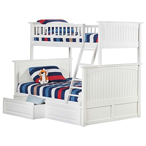 White Full Panel Bed (Nantucket Bunk Bed with 2 Raised Panel Bed Drawers, Twin Over Full, White)
