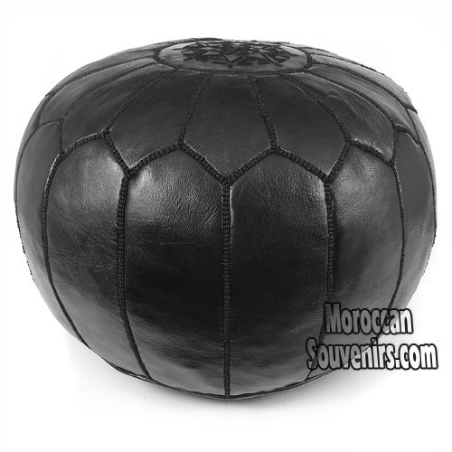 Stuffed Moroccan Pouf, Pouffe, Ottoman, Poof, Color : All Black