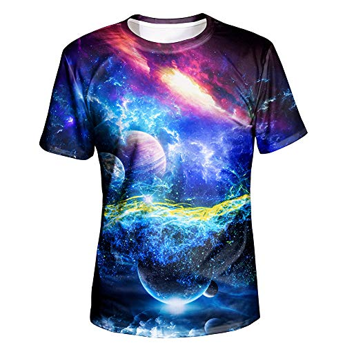(Asylvain Unisex Tshirt with 3D Print Design Short Sleeve Universe Tshirts for Men and Women, Large)