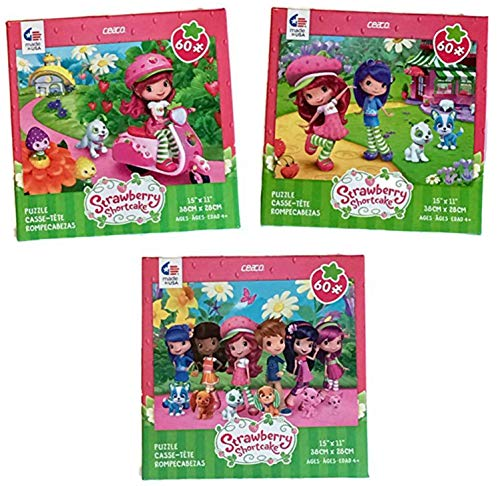 Strawberry Shortcake 60 Piece Kids Puzzle Set: - Strawberry Shortcake on Her Vespa, Strawberry Shortcake Friends and Pets, and Strawberry Shortcake Lots of Friends and ()