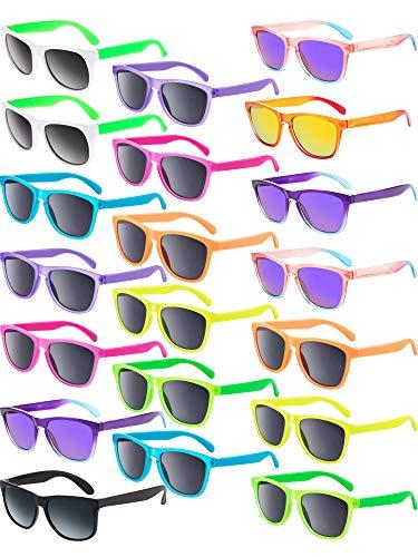 147 Sunglasses - Blulu 20 Pairs Neon Colors Sunglasses Party Favor Goody Bag Favors Supplies Unisex for Graduation Mardi Gras Holidays