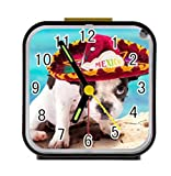 LiFei Business Cute Puppy Dog in Mexican Custom Square Black Alarm Clock
