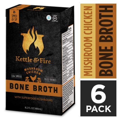 Mushroom Chicken Bone Broth by Kettle and Fire, Pack of 6, Keto Diet, Paleo Friendly, Whole 30 Approved, Gluten Free, with Collagen, 10g of protein, 16.2 fl oz