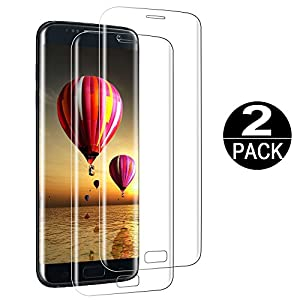 [2 Pack] Samsung Galaxy S7 Edge Screen Protector Tempered Glass 3D Curved Full Coverage HD Clear 9H Anti-Scratch Tempered Glass Screen-Protector Film For samsung galaxy s7 edge from Coolpow