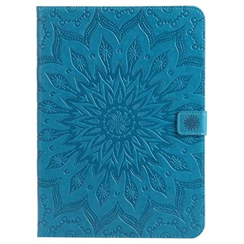 iPad Air 2 Case,Folio Magnetic Closure PU Leather 3D Sunflower Embossed Stand Case with Card Slots for Apple iPad Air 2 /iPad 6