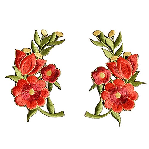 XUNHUI Red Roses Flowers Patch Embroidered Appliques Iron-on Patches (Patch Case Flower)