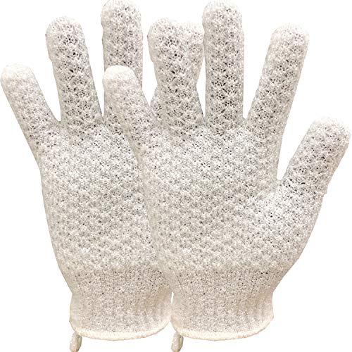 - AGT Exfoliating Gloves Body Scrubs -Deep Clean Dead Skin Fit Spa Bath Shower -Face Hand Body Bath Gloves (White)