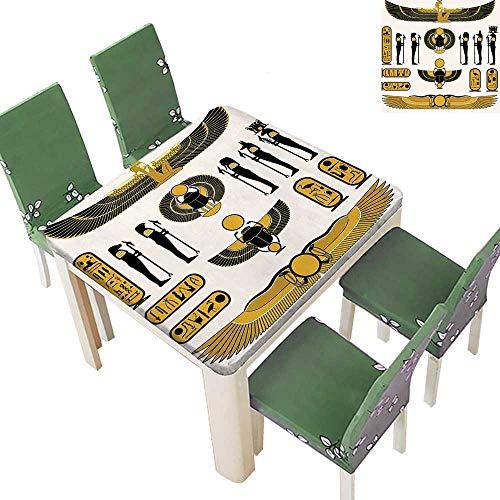 Printsonne Polyesters Tablecloth Old Historical Egyptian Spirit Mummy Ra Sun Yellow Black Wedding Birthday Party 52 x 52 Inch (Elastic Edge)]()