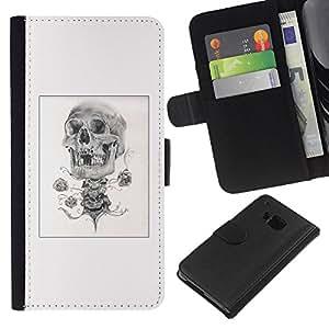 KLONGSHOP // Tirón de la caja Cartera de cuero con ranuras para tarjetas - Rose del cráneo del motorista poster Negro Blanco - HTC One M7 //