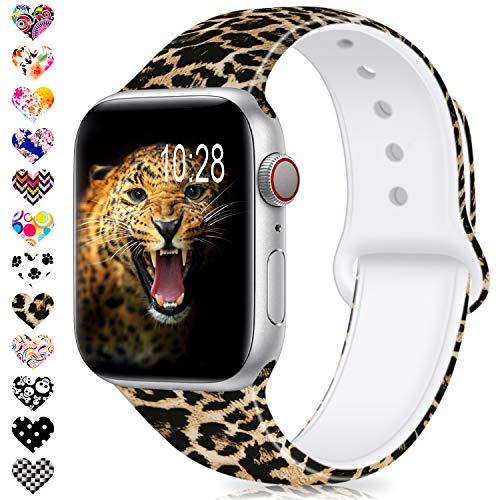 DigiHero Compatible for Apple Watch Band 38mm 42mm 40mm 44mm,Silicone Fadeless Pattern Printed Replacement Floral Bands for iWatch Series ()