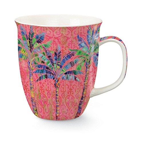 Palm Tree Porcelain (Palms on Pink 15 Ounce Porcelain Coffee Latte Tea Harbor Mug)