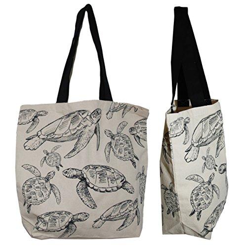 Turtle Bag Tote - Shopper Tote Bag - Sea Turtle Illustrated, Eco-Friendly Reusable Multipurpose Canvas Grocery Bag