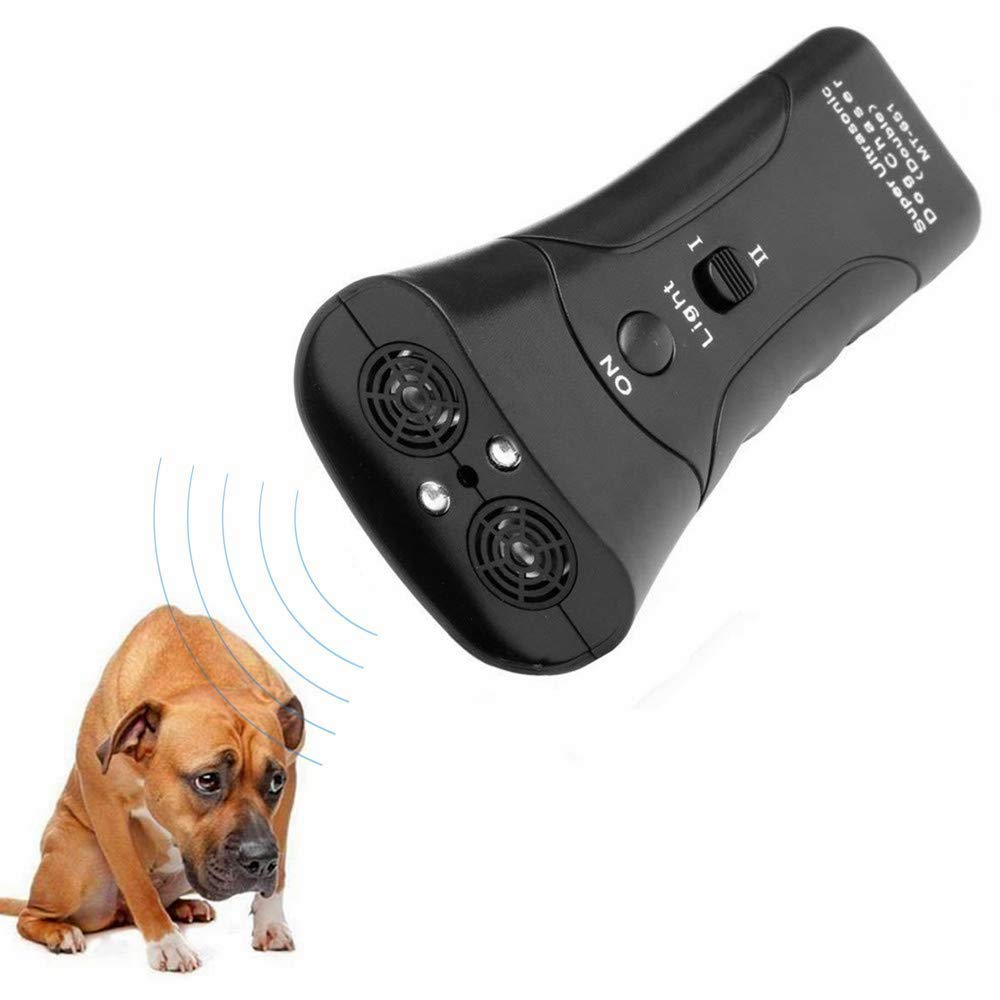 DOPQIEG Ultrasonic Dog Repeller, Electronic Anti Barking Stop Bark Handheld 3 in 1 Pet Dog Trainer with LED Flashlight, Dog Training Device for Your Safety Dog Deterrent Training Tool Stop Barking