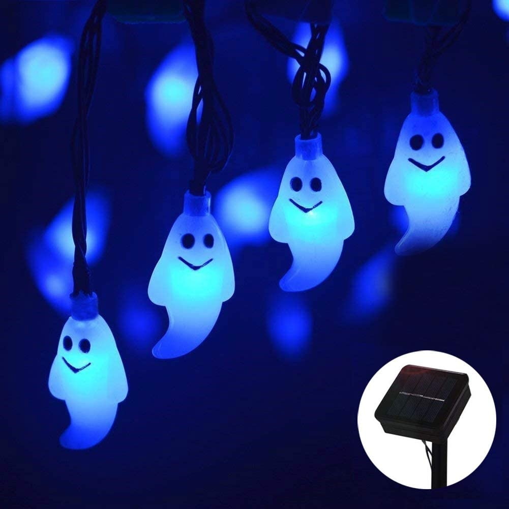 MQ Halloween Ghost String Light, Ghost Fairy String Lights Solar Powered Waterproof 8 Modes 30 LED 21.32ft for Halloween Horror Nights Decor Outdoor Indoor Home Party Yard Garden Decoration (Blue) …