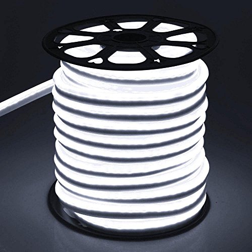 DELight 150 Ft 110 Volts Cool White Flexible LED Neon Rope Tube Light Power Cords for Indoor Outdoor Garden Holiday Valentines Party Decor Lighting by Generic (Image #2)
