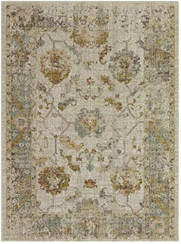 Alcantras Collection Low Pile Distressed Oriental Medallion Area Rug, 5 2 x 7 2 , 0397 – Cream Beige
