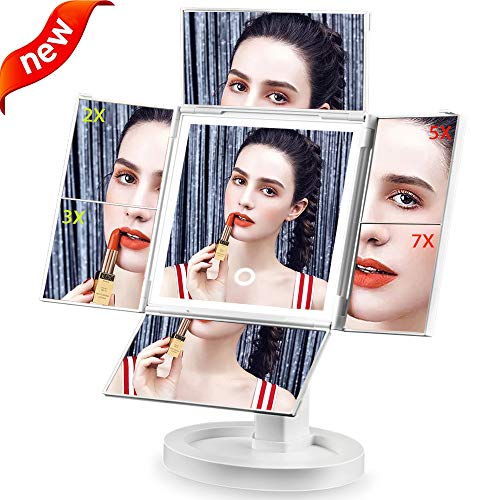 Makeup Mirror Lighted Vanity Mirror with Lights 2X 3X 5X 7X Magnification Cosmetic Mirror with 34 Led Lights,Touch Screen and 360 Rotation,Dual Power Supply Portable Trifold Mirror