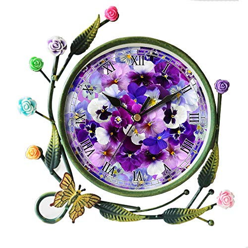 girlsight Iron Art Living Room Butterfly Flower Leaf Decorative Non-Ticking Quartz, Analog Large Numerals Bedside Table Desk Alarm Clock-406.Graphic, Background, Pansy, Easter -