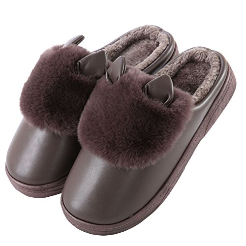 PU Cute cat ears cotton home slippers-Unisex winter warm plush boots shoes Coffee tRLu4Gnq