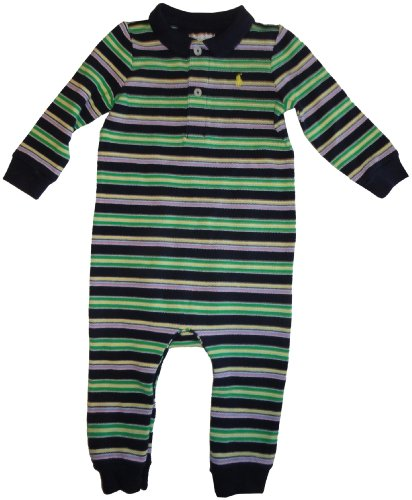 Infant's Ralph Lauren Polo Long Sleeve Baby Romper Navy with Multicolor Stripes Size 9 Months