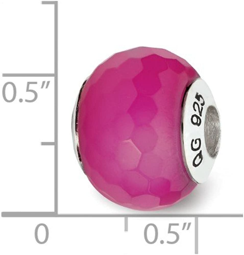 13.6mm x 13.6mm Solid 925 Sterling Silver Reflections Fuchsia Cracked Simulated Agate with Shell Stone Bead