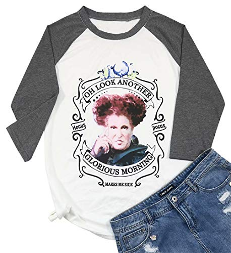 Oh Look Another Glorious Morning Halloween T-Shirt Women Red Queen 3/4 Raglan Sleeve Tops Size M (White)