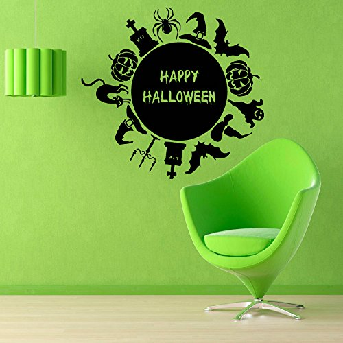 YINGKAI Happy Halloween Globe Stickers Bats Pumpkin Cat Living Room Vinyl Carving Wall Decal Sticker for Halloween Party Home Window Decoration