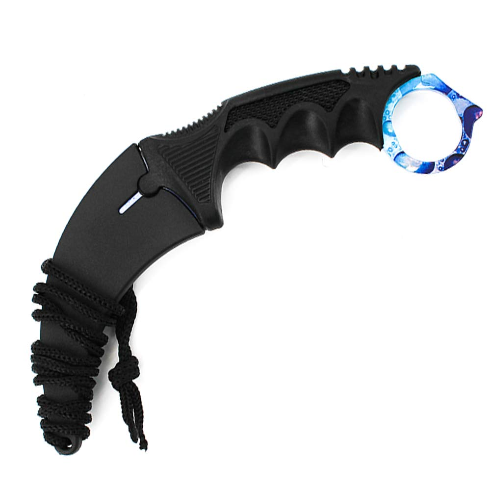 Wetop Karambit Knife, CS-GO for Hunting Camping Fishing Self Defenses and Field Survival, Stainless Steel Fixed Blade Tactical Knife with Sheath and Cord (Blue Ocean). by Wetop (Image #5)