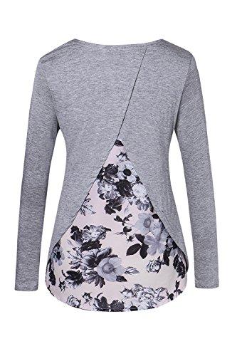 Las Mujeres De Manga Larga Casual Otoño Ireegualr Floral Print Patchwork Camiseta Blusa Grey